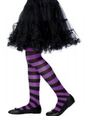 Black & Purple Striped Childs Tights